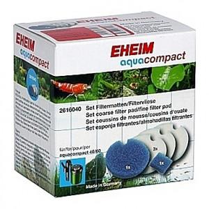 2 mousses bleues et 3 coussins de ouate (perlon) pour EHEIM aquacompact 40/60