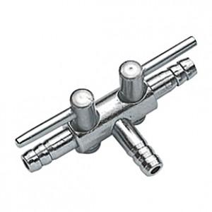 Robinet à air (contrôleur) en métal HOBBY pour tuyau 4/6mm - 2 sorties