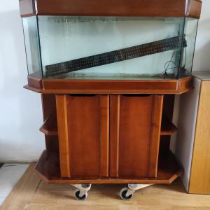Aquarium avec meuble en bois 250L et rampe LED