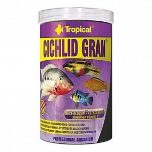 Granulés aliments de base ravive couleurs pour cichlidés omnivores CICHLID GRAN 1L