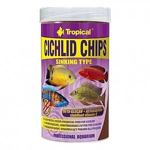 Chips riches en krill, seiche, spiruline, ortie, … CICHLID CHIPS 250ml