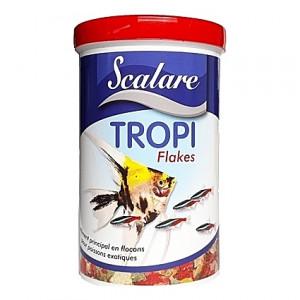 Flocons aliments sains et équilibrés pour poissons tropicaux TROPI FLAKES SCALARE 1L